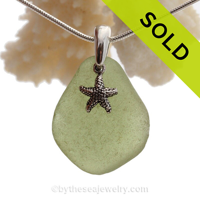 """Bright Peridot Green Sea Glass Necklace with Sterling Silver Starfish Charm - 18"""" Solid Sterling Chain INCLUDED"""