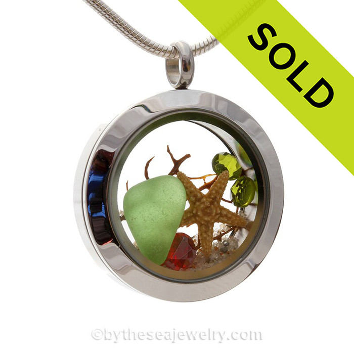 Big Things in Little Package -  Green Sea Glass With Starfish, Red Crystal Gem & Real Sand Locket