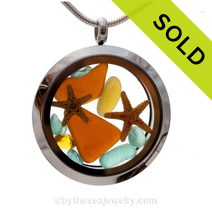 A great locket for anyone, specially those with a November birthday. Amber, Topaz and Aqua sea glass combined  with a real starfish and brightened up with a Topaz crystal gems (November Birthstone). SOLD - Sorry this Sea Glass Locket is NO LONGER AVAILABLE!