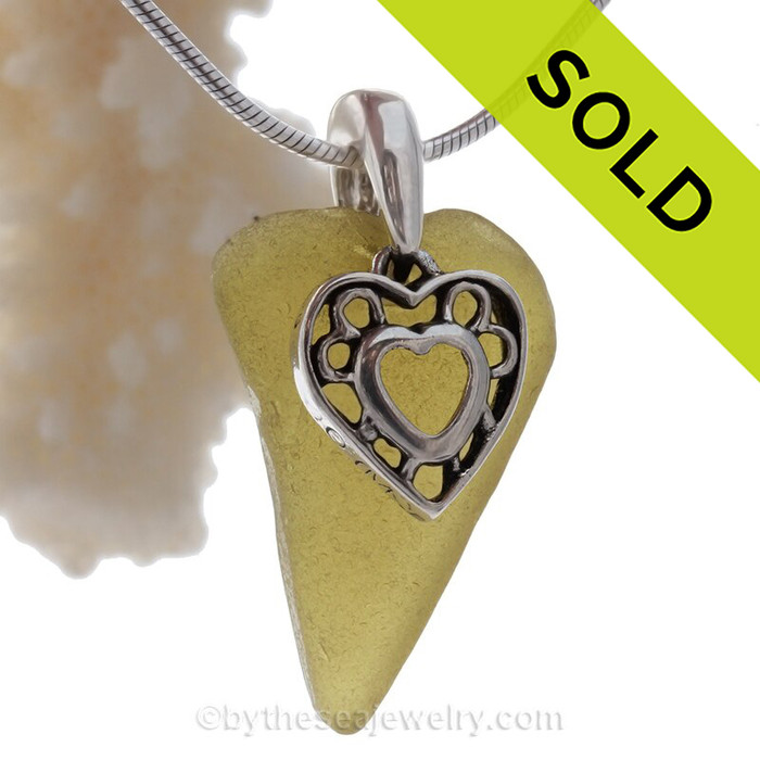 Heart Shaped Peridot Green Sea Glass Necklace with beach found glass and Solid Sterling Heart Charm and INCLUDING Solid Sterling Silver Snake chain.