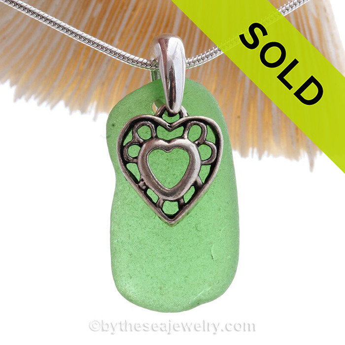"""Nice Green Sea Glass Necklace with Sterling Silver Heart Charm - 18"""" Solid Sterling Chain INCLUDED"""