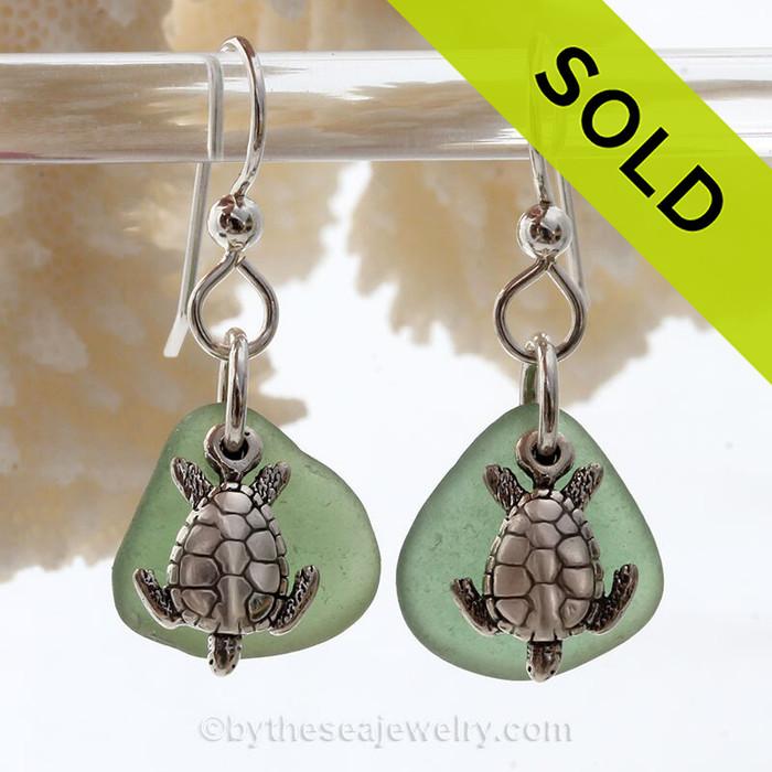 Seaweed Green Sea Glass Earrings On Sterling W/ Sea Turtle Charms