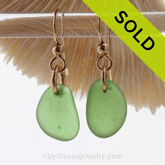 Simply Sea Glass Earrings in Green Beach Found Glass