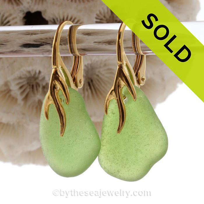 Bright Green Sea Glass Earrings on 24K Gold Vermeil Coral Branch Earrings