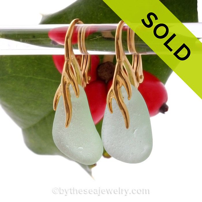 Fresh Sea Green Sea Glass Earrings on 24K Gold Vermeil Coral Branch Earrings