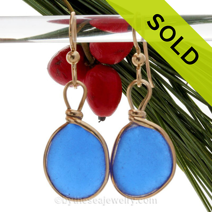 Cobalt Blue Blue Genuine Caribbean Sea Glass Earrings In Gold Original Wire Bezel© SOLD - Sorry this Sea Glass Earring selection is NO LONGER AVAILABLE!