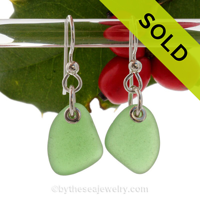 Simply Sea Glass - Triangles of Green Earrings On Solid Sterling Silver Silver Earwires