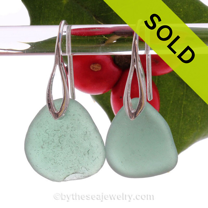A fresh and clean natural beach found Sea Glass Earrings in THICK Vivid Aqua Green on Sterling Silver Deco Hooks. Simple and elegant with genuine sea glass pieces.