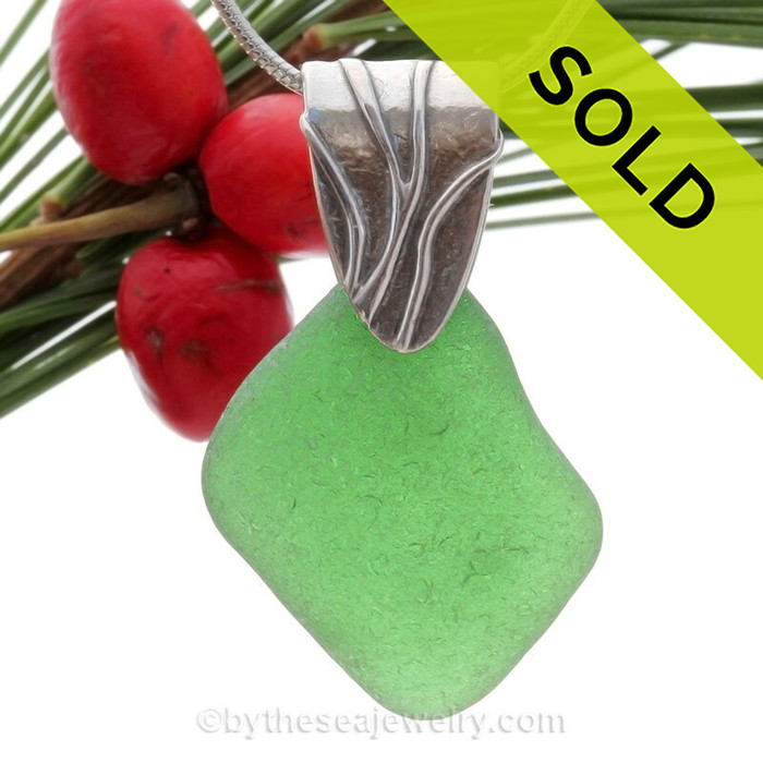 Beautiful frosty Vivid Green Sea Glass Necklace On Sterling Coral Branch Bail