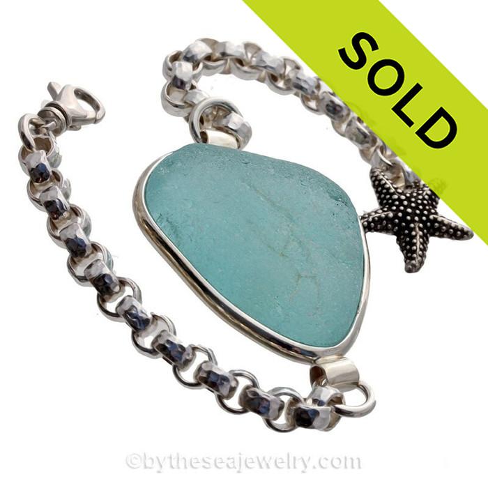 HUGE Vivid Aqua Sea Glass ID Bracelet set in our Premium Deluxe Wire Bezel© Solid Sterling Silver (