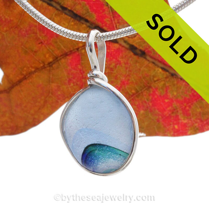A Lovely Petite odd shaped Stunning Mixture of Greens & Blue  Seaham multi sea glass set in Solid Sterling Silver Deluxe Wire Bezel© pendant setting.