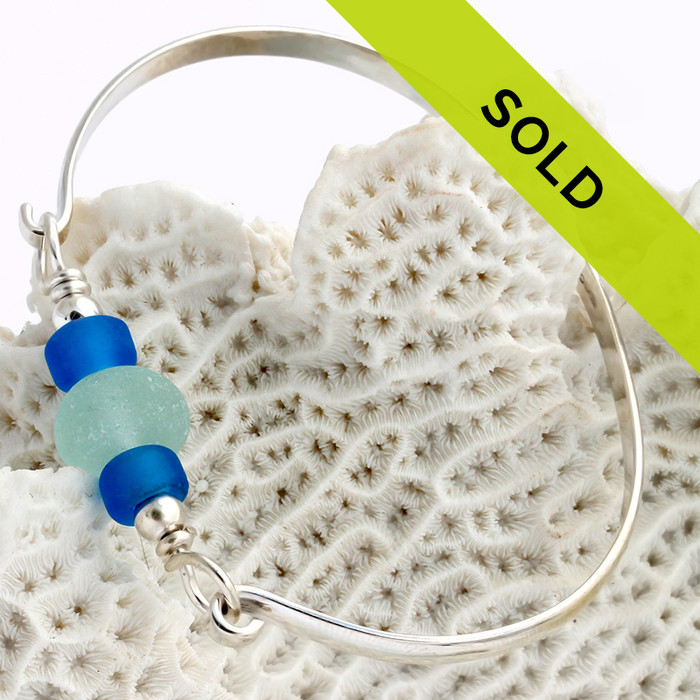 Seafoam English Sea Glass On Sterling Bangle Bracelet