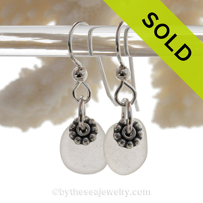 Simply Sea Glass - Genuine Sea Glass Earrings In Pure White on Sterling