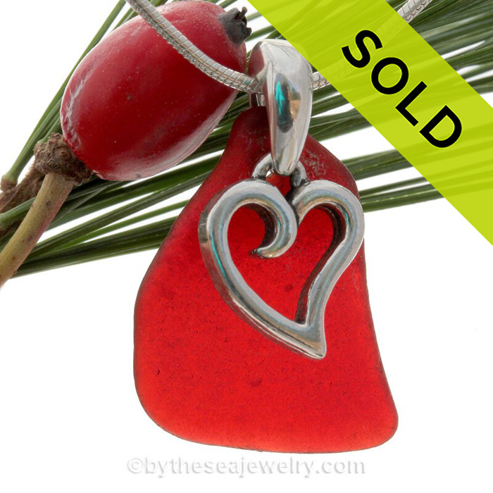 """Real Ruby Red Genuine Sea Glass Necklace with Sterling Silver Heart Charm - 18"""" Solid Sterling Chain INCLUDED"""