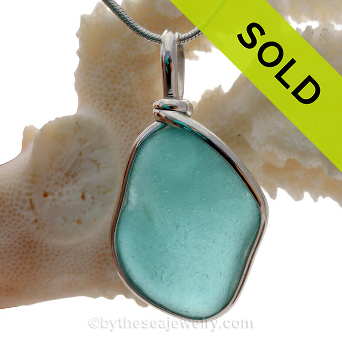 VERY LARGE Flat Vivid Aqua Blue Genuine Sea Glass Pendant In Sterling Original Wire Bezel Setting©