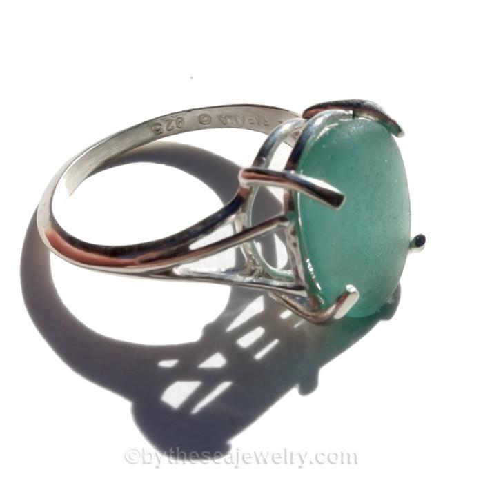 GenuineAqua Green Sea Glass In Sterling Basket Ring - Size 7