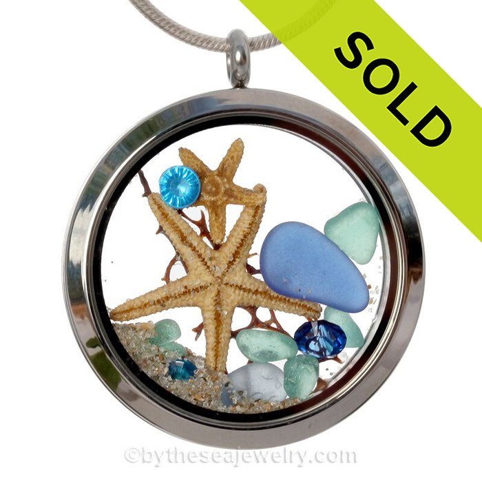 December By The Sea - Genuine Blue Sea Glass, Starfish and Crystal Gems- Large Locket