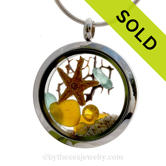 November Sea Dreams - Genuine Sea Glass, Starfish with Topaz Gem in a Stainless Steel Locket