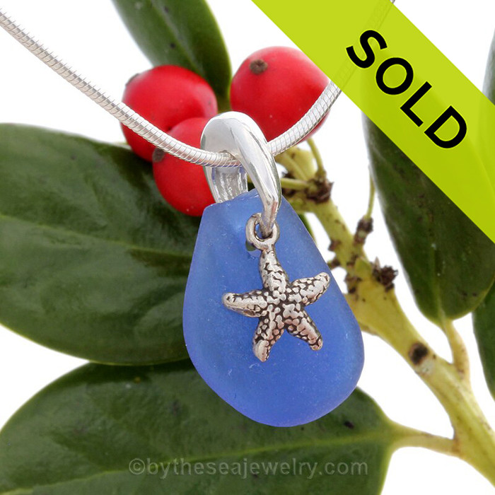 Blue Sea Glass Necklace On Sterling Bail With Sterling Sea Star Charm - S/S CHAIN INCLUDED