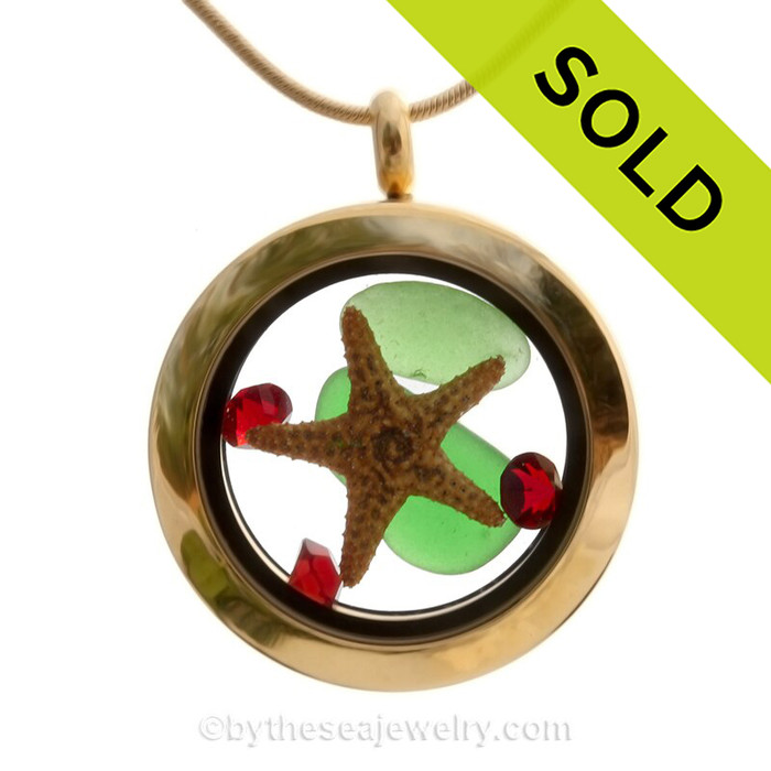 Golden Christmas 2 - Genuine Sea Glass Locket Necklace W/ Real Starfish & Holiday Crystals