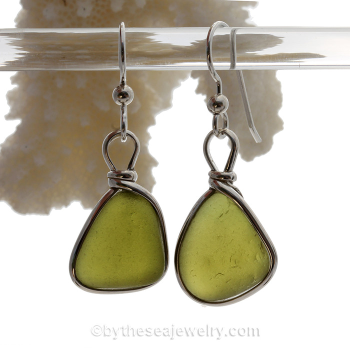 Genuine vivid Peridot Green English Sea Glass Earrings in our Original Wire Bezel is Solid Sterling Silver.