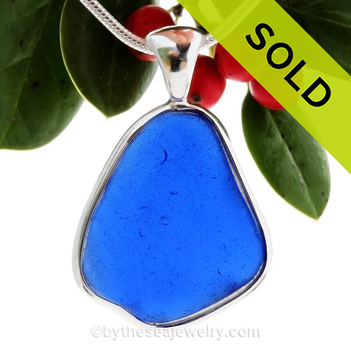 Large Organic Cobalt Blue Sea Glass Pendant In Sterling Silver Deluxe Wire Bezel© Setting