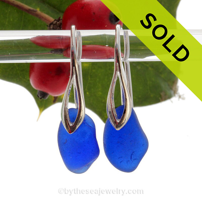 Chunky Genuine Blue Sea Glass Earrings on Sterling Deco Style Hooks.