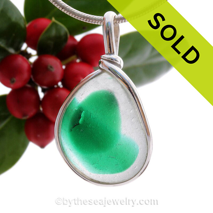 A Rich Vivid Green English Multi in a white base set for a necklace in our Original Sea Glass Bezel© in Solid Sterling Silver setting.