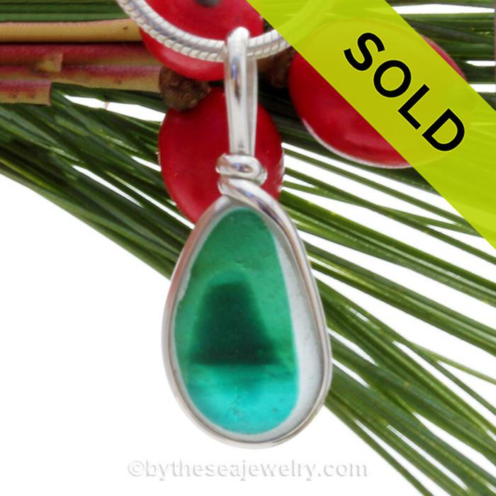 Tropical Mountain - ULTRA RARE Mini Multi Sea Glass Necklace Pendant In S/S Original Wire Bezel©