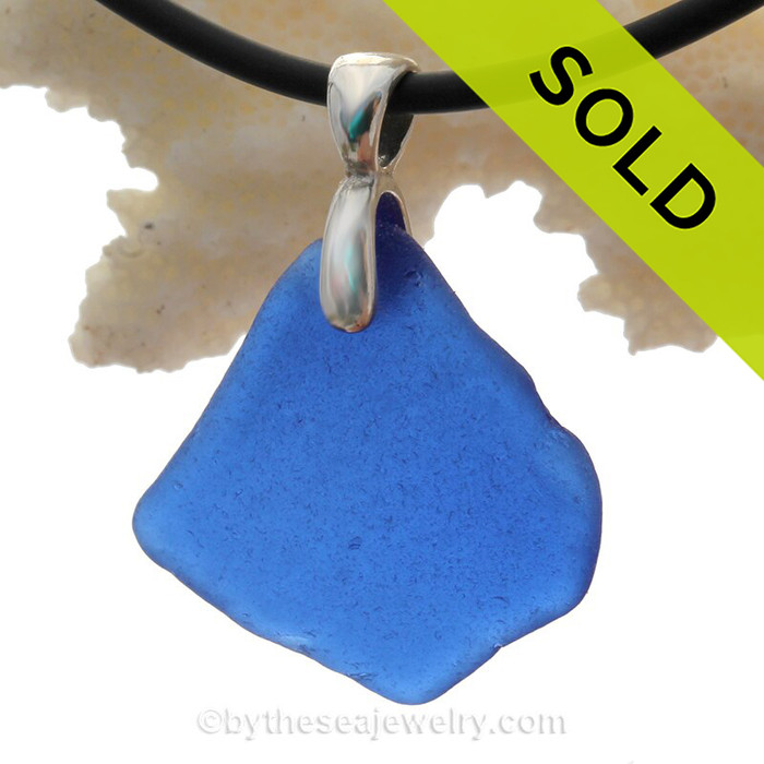 Blue Natural Beach Found Sea Glass Necklace Set On Silver Bail With Black Neoprene Cord