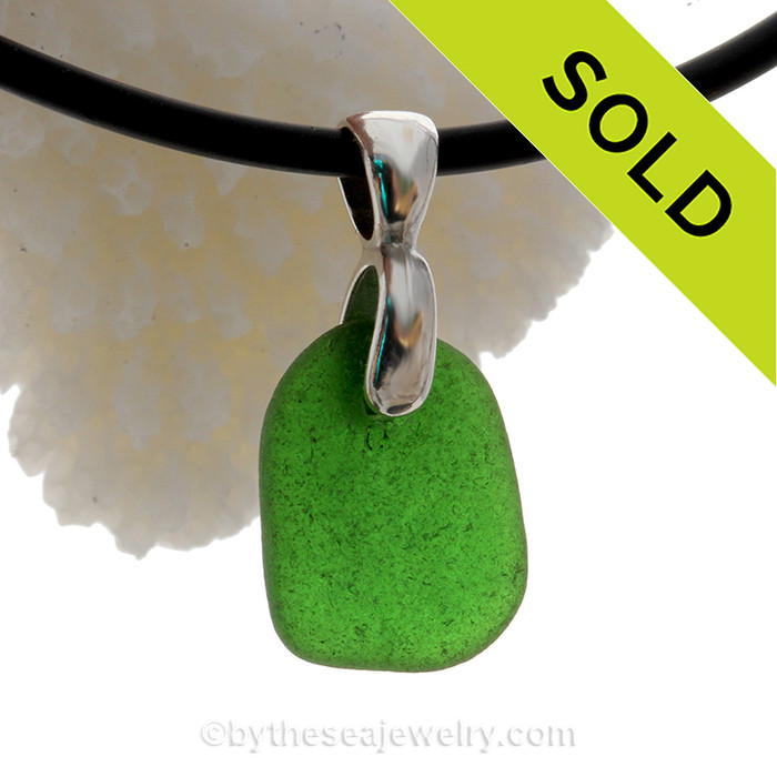 Smaller Beach Found Vivid Green Natural Sea Glass Necklace Set On Silver Bail With Black Neoprene Cord