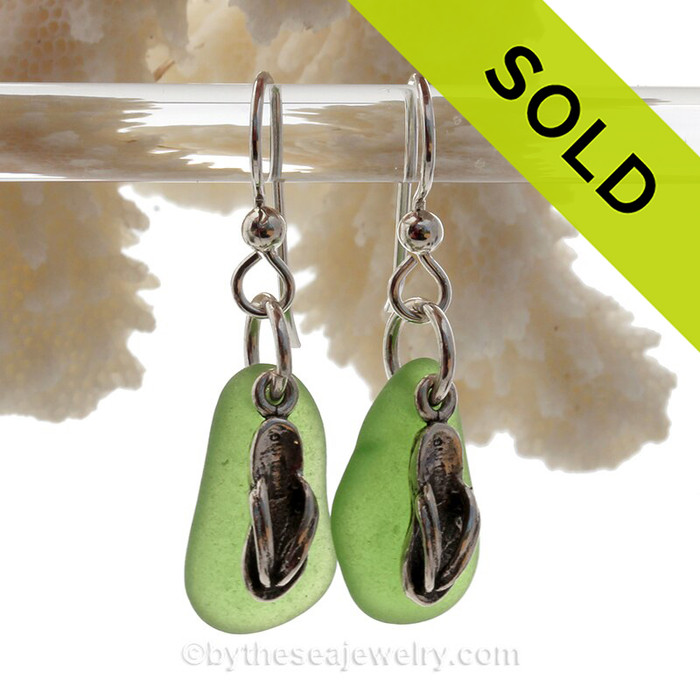 Sea Charmed - Bright Green Sea Glass Earrings  On Sterling With S/S Flip Flop Charms