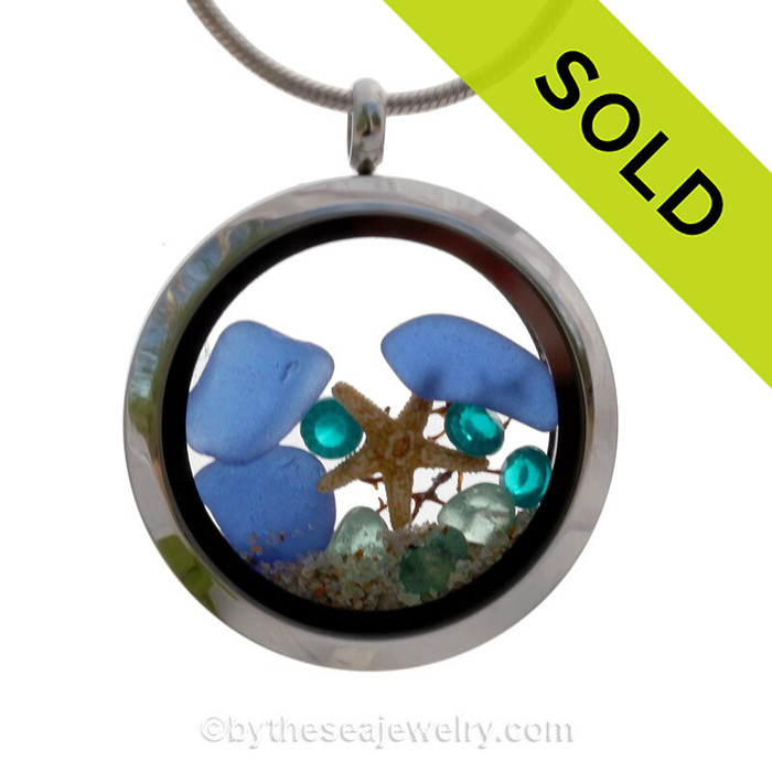 Blue Genuine Sea Glass Locket With Starfish, Beach Sand and Turquoise Gemstone.