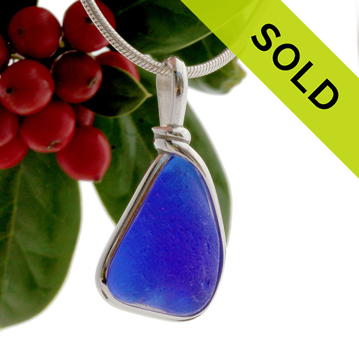 Thicker Smaller Cobalt Blue Sea Glass Pendant In S/S Original Wire Bezel© Pendant