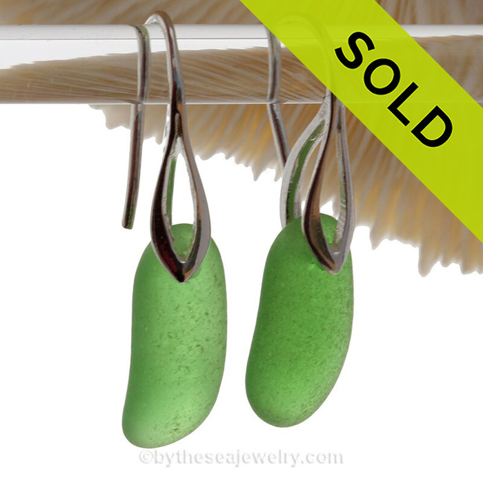 A fresh and clean natural beach found Sea Glass Earrings in Longer THICK Vivid Green on Sterling Silver Deco Hooks. Simple and elegant with genuine sea glass pieces.