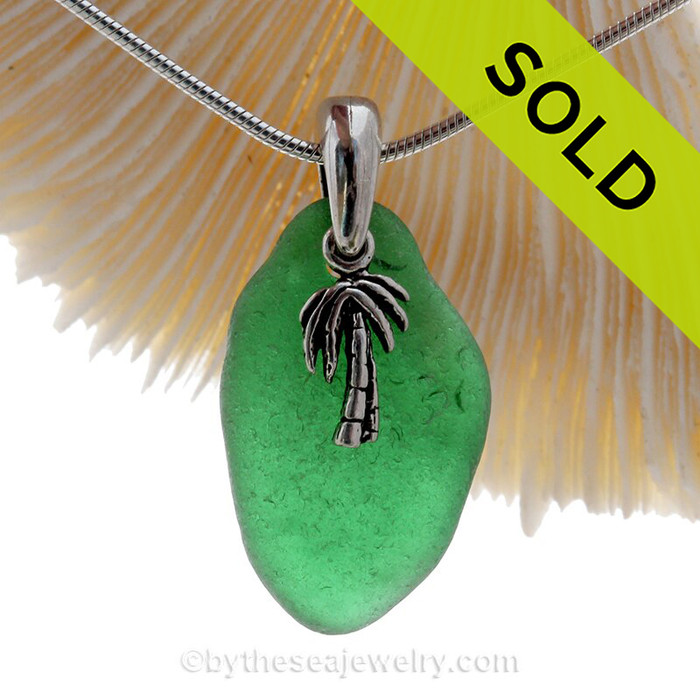 """Unusual Vibrant Green Sea Glass With Sterling Silver Pal Tree Charm - 18"""" STERLING CHAIN INCLUDED"""
