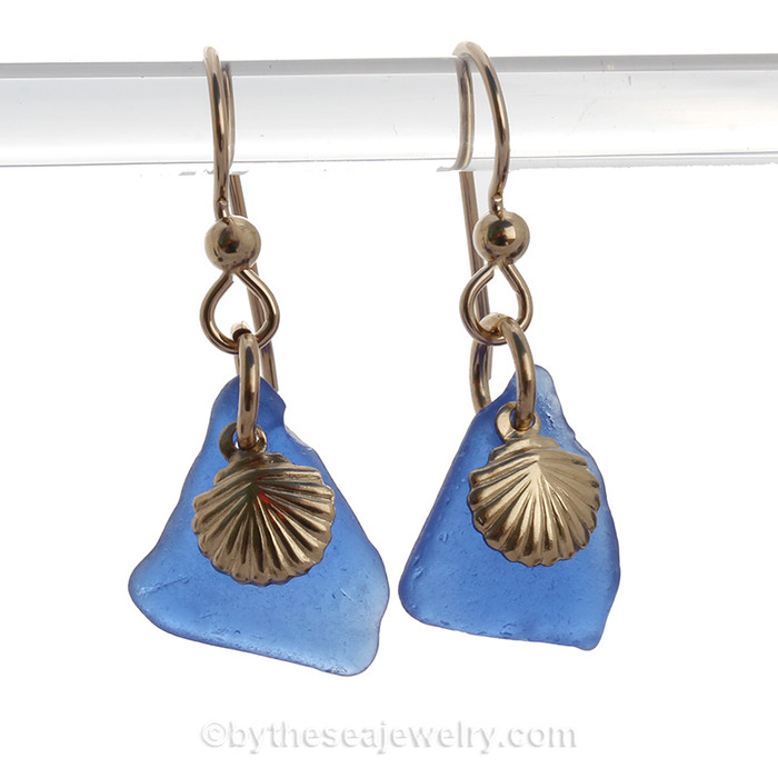 Genuine Cobalt Blue Sea Glass Earrings On Gold With G/F Shell Charms