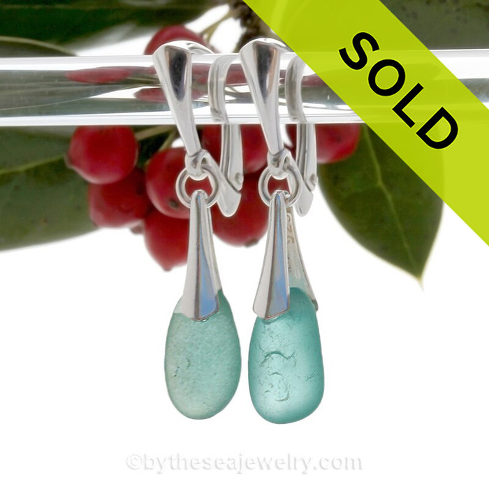 Stunning Drops of Aqua Blue  Genuine Sea Glass on Solid Sterling Silver Deluxe Dangly Leverbacks