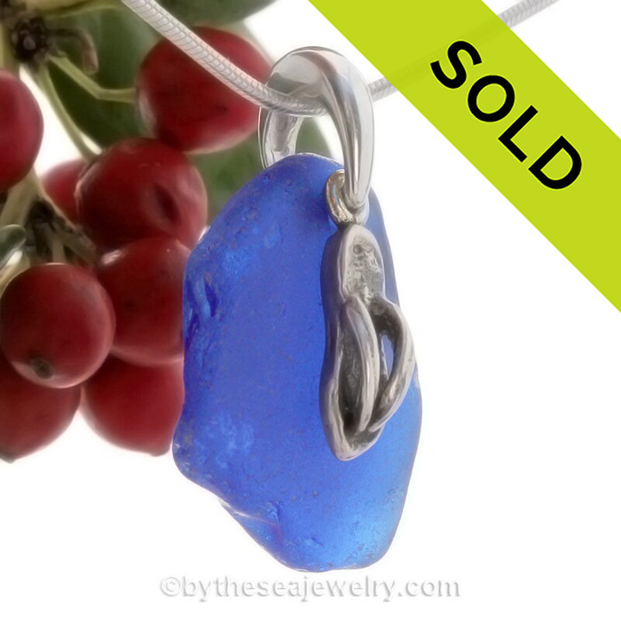 """Coablt Blue Sea Glass With Sterling Silver Flip Flop Charm - 18"""" STERLING CHAIN INCLUDED"""