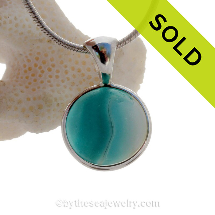 Like an Aegean Planet  of Snow Semi Opaque Aqua Sea Glass Beach Found Marble Pendant In Deluxe Sterling Wire Bezel©