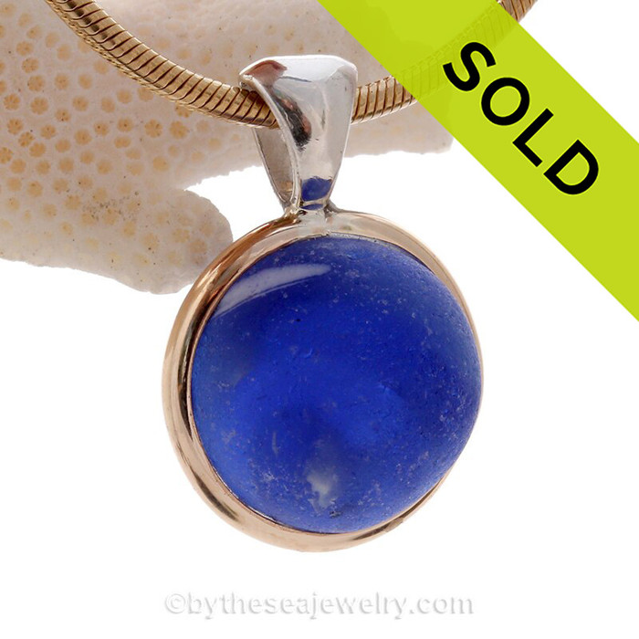 Blue Sea Glass Beach Found Marble Pendant In Deluxe Mixed Tiffany  Wire Bezel©
