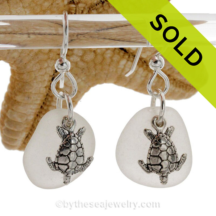 Larger Genuine Sea Glass Earrings In Pure White on Sterling Silver With Turtle Charms