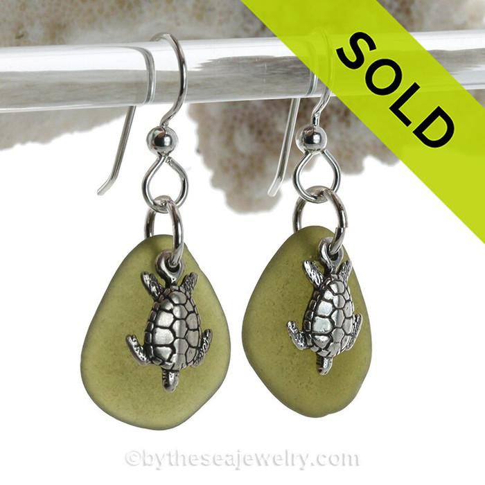 Seaweed Green Genuine Sea Glass Earrings On Sterling W/ Sterling Sea Turtle Charms