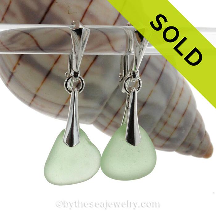 Yellowy Sea Green Genuine Sea Glass Solid Sterling Silver Dangly Deluxe Leverback Earrings.