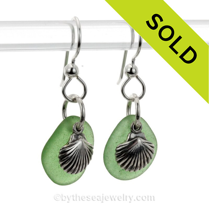 Green Sea Glass Earrings W/ Solid Sterling Shell Charms (SSE21-14)