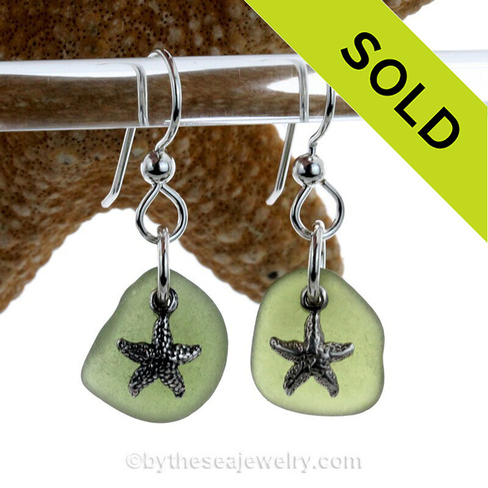 Beach Found Seaweed Green Sea Glass Earrings On Sterling W/ Solid Sterling Starfish Charms