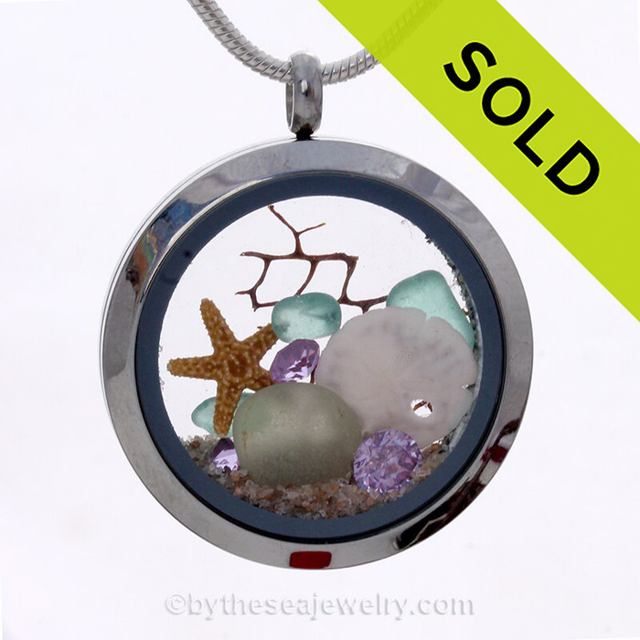 February Beach Lover  -  Seafoam & Aqua Genuine Sea Glass Locket With Starfish, Sandollar & Amethyst Gemstones
