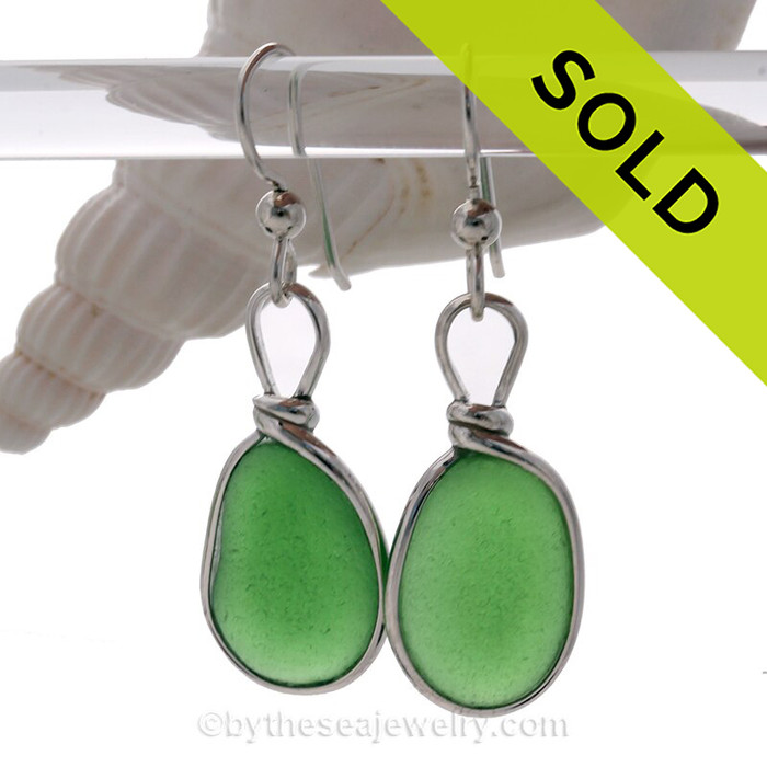 PERFECT Green Beach Found Sea Glass Earrings In Sterling Silver Original Bezel©
