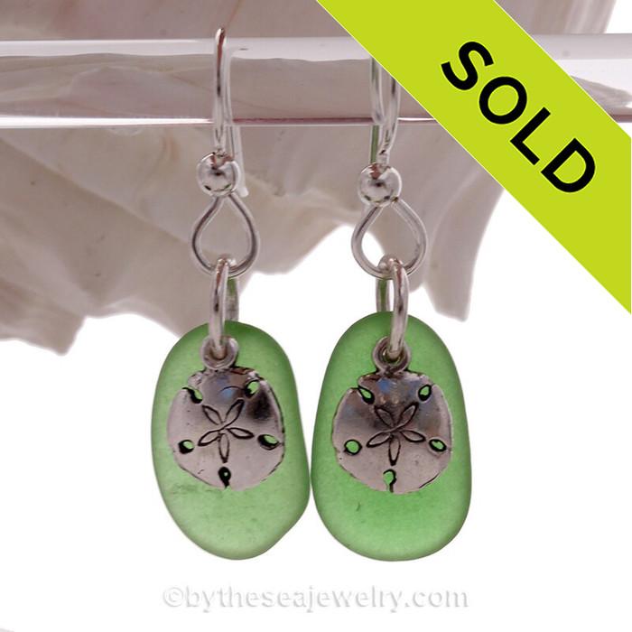 Green Genuine Sea Glass Earrings On Sterling W/ Sterling Sandollar Charms