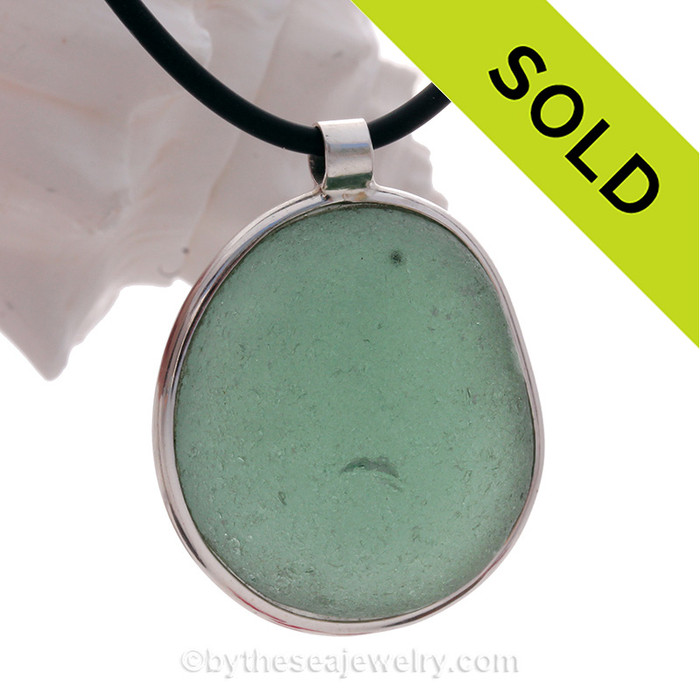 VERY LARGE Frosty Beach Found Aqua Green Sea Glass Necklace with thick 4MM Neoprene Cord with By The Sea Sterling Bail